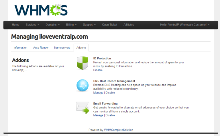 Allow your clients to manage and edit free DNS, email forwarding or ID protection on their domain via the WHMCS Client Area