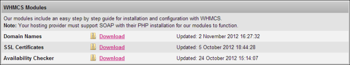 Wholesale System customers can download our WHMCS module through the Wholesale System