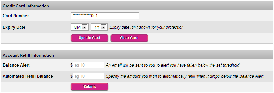 Add your credit card to the Wholesale System for automatic refil