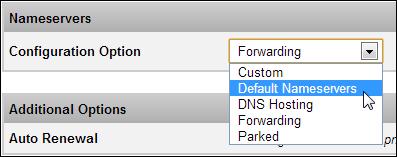 Wholesale System Registration Name Server Dropdown