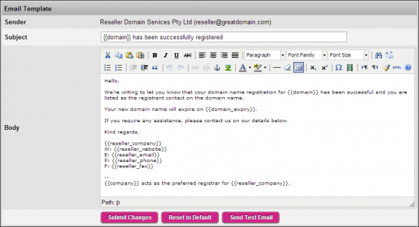 Use our WYSIWYG editor when editing your Wholesale System email templates