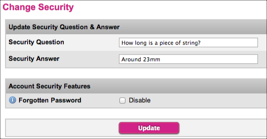 Set your own security question and answer in the Wholesale System