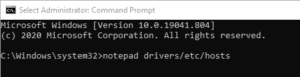 Command Prompt open notepad
