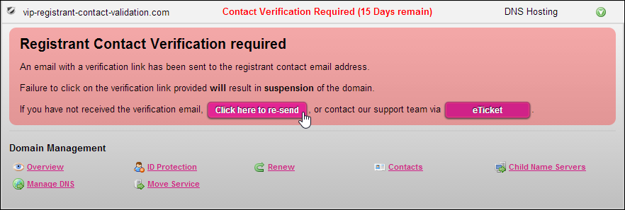 Click on the Actions for the domain name to resend the Registrant contact verification email