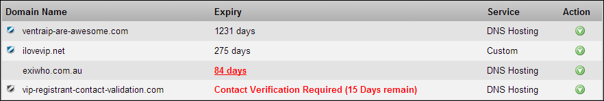 See what domain names require Registrant contact verification through Manage Domain Names in VIPControl