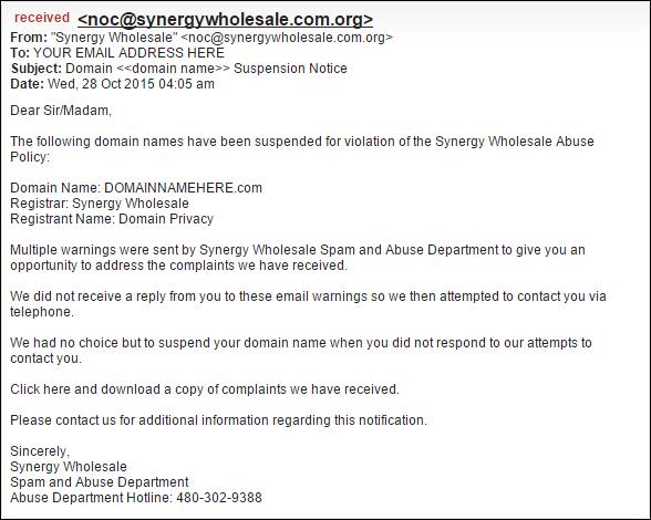 Example Synergy Wholesale Phishing Email Notice