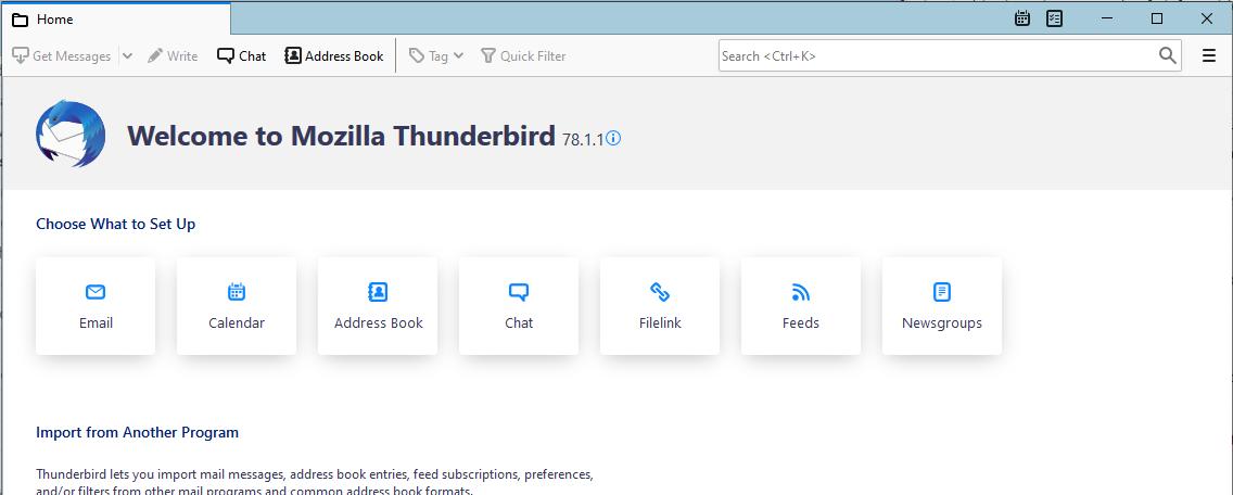 Thunderbird Calendar setup - Step 1