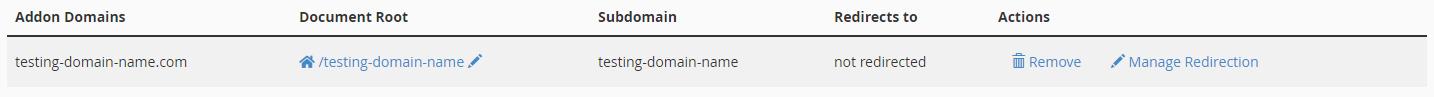 cPanel Addon Domain List