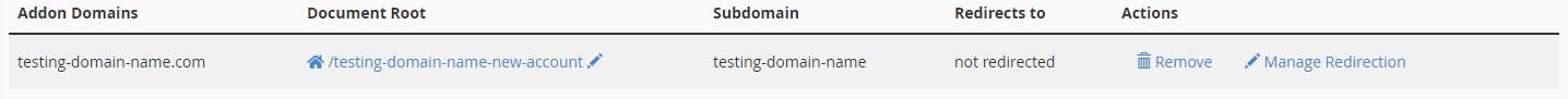 cPanel Addon Domain List - 2