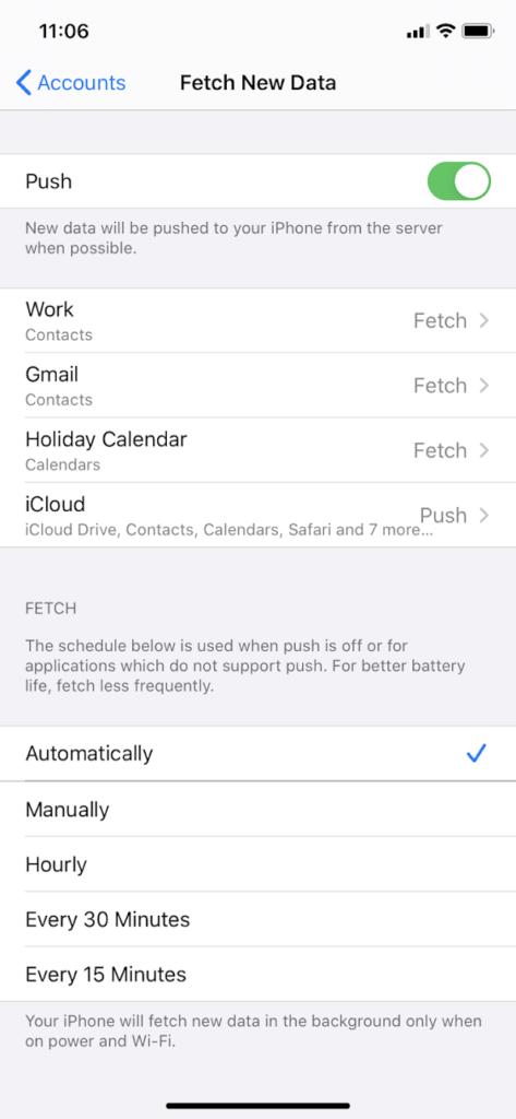 IPhone Fetch Settings
