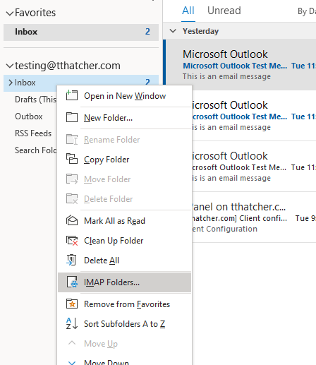 Outlook IMAP Folders