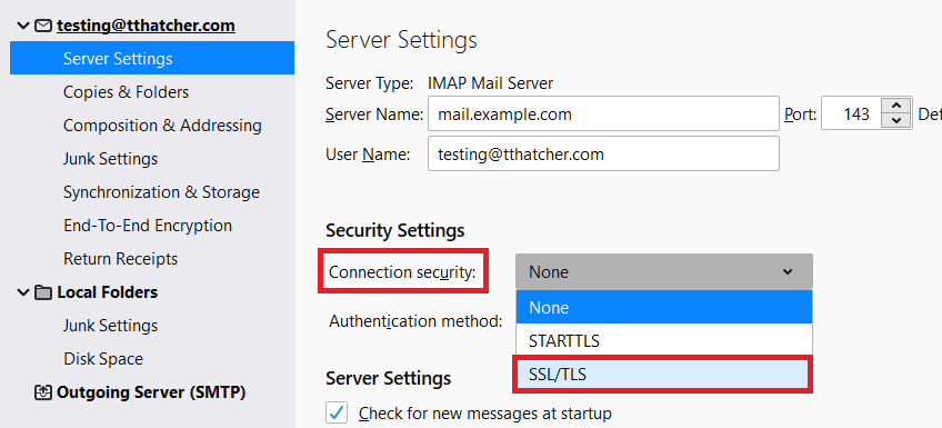 Change Connection Security to SSL/TLS