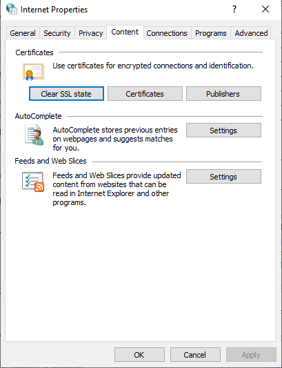 Microsoft Windows - Clear SSL State