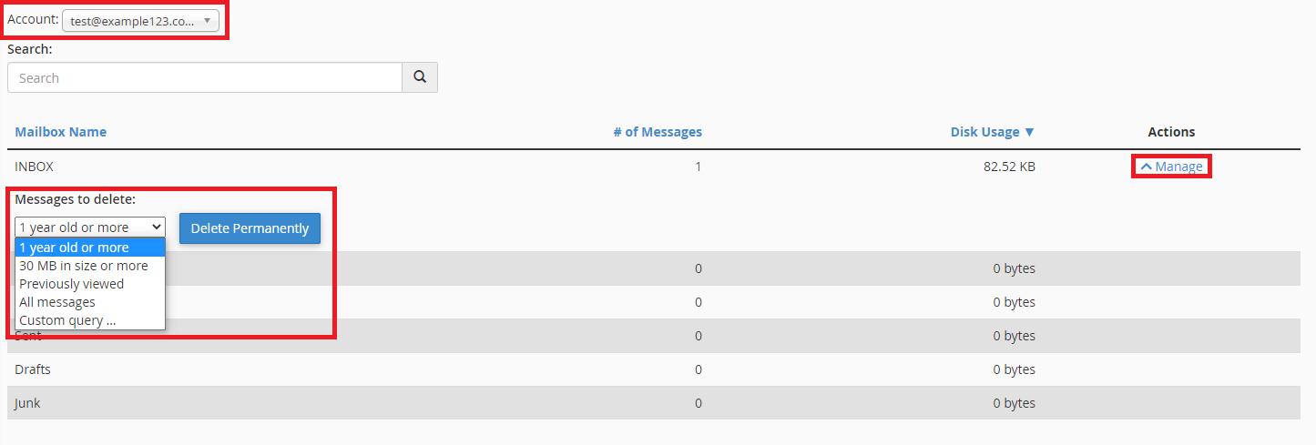 cPanel delete emails