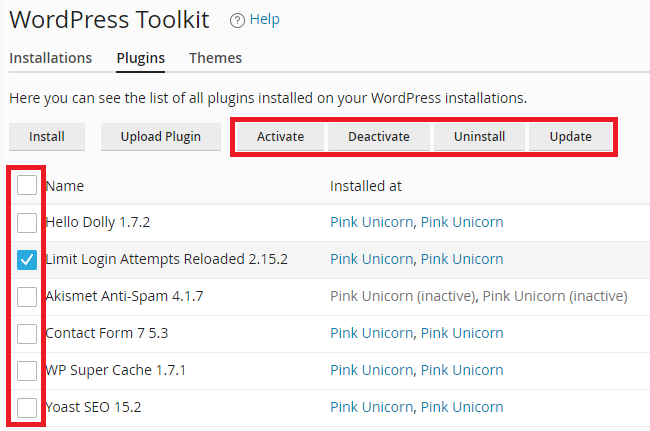cPanel Toolkit - Manage Plugins