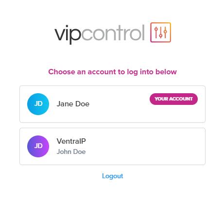 VIPControl Login Select User