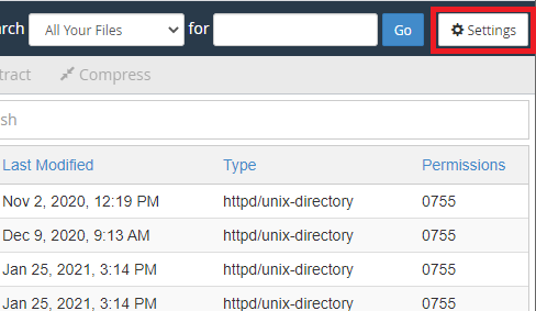 cPanel File Manager Settings