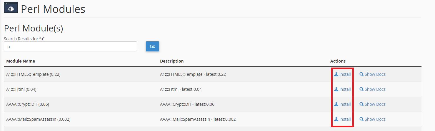 cPanel Perl Module Install