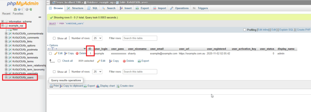 WordPress PHPMyAdmin User ID